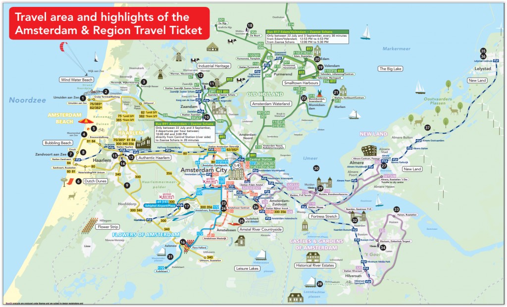 3 Day Amsterdam Region Travel Pass Ticket Map