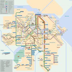 Amsterdam GVB Trams Map
