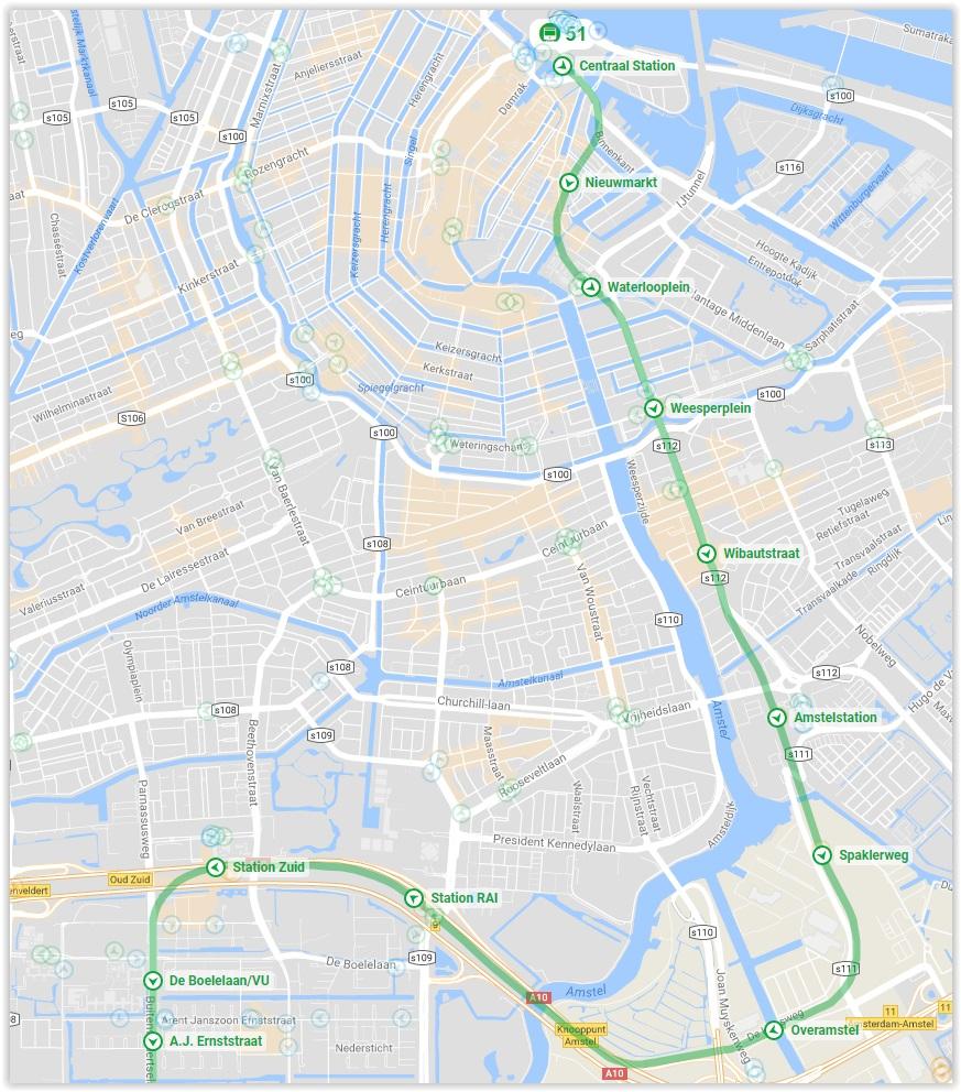 Amsterdam Metro Line 51 Map