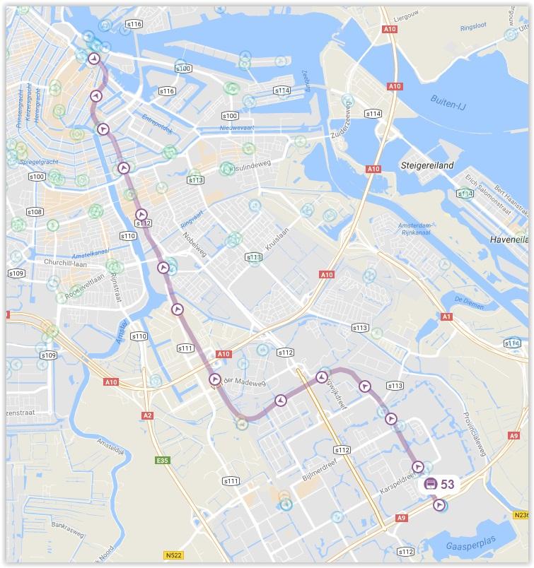 Amsterdam Metro Line 53 Map