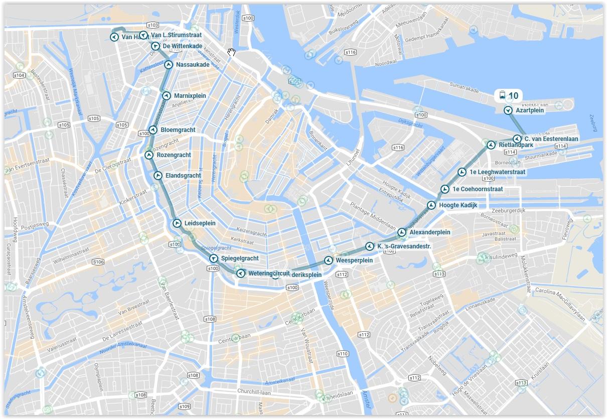 Amsterdam Tram 10 Map