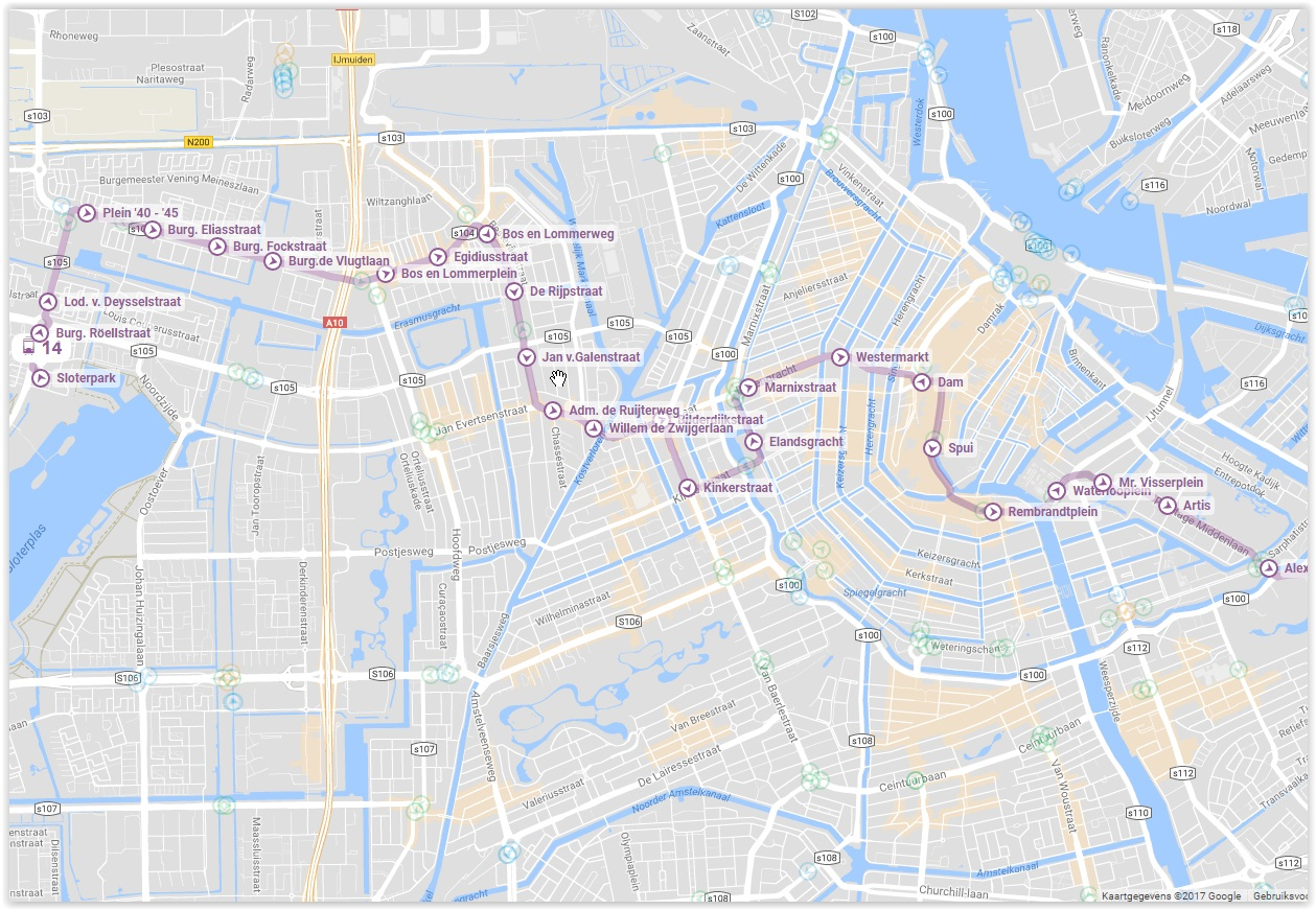 Amsterdam Gvb Tram 14 Map Lijn 14 Almere Tours