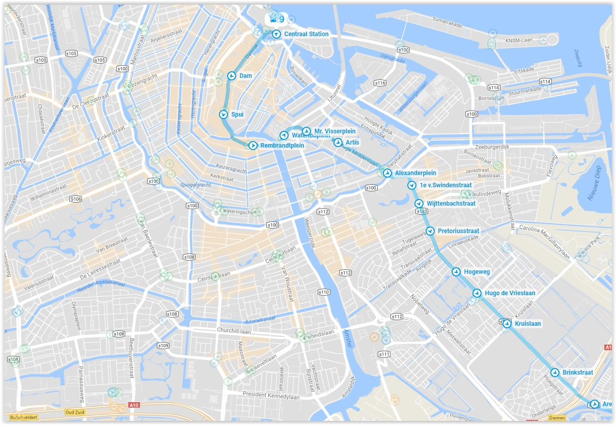 Amsterdam Tram 9 Map