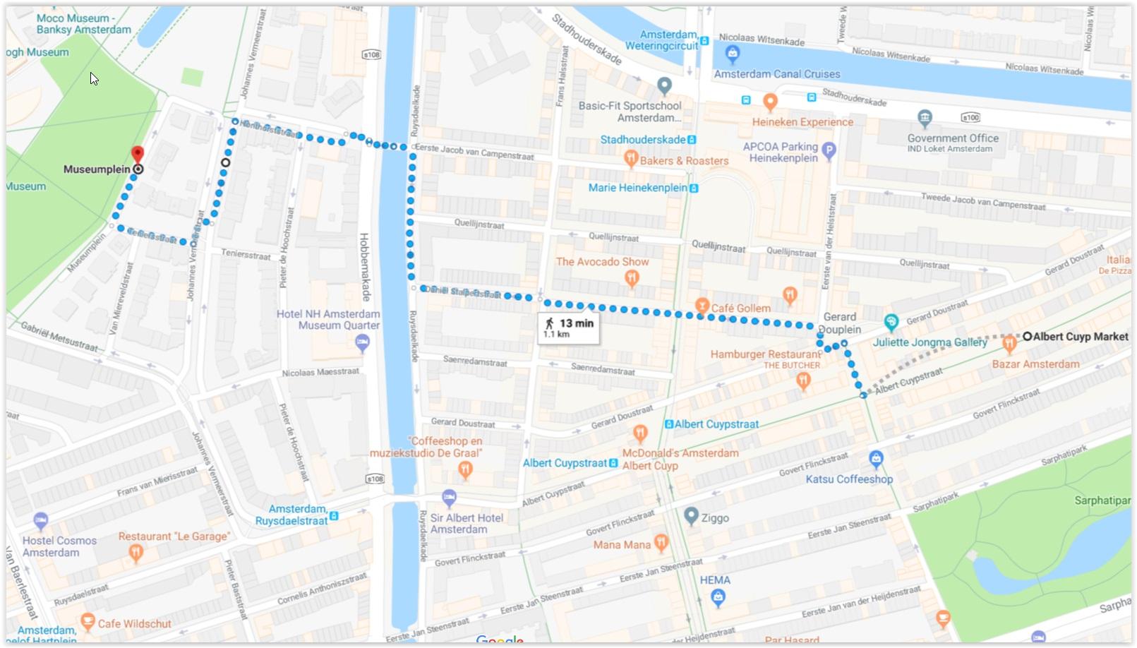 Albert Cuyp to Museumplein Map