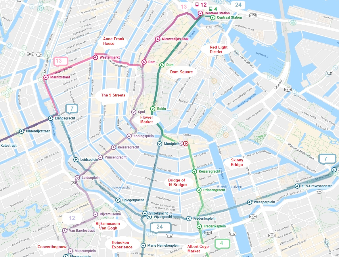 Amsterdam Subway Map.Best Amsterdam Tram Map For Tourists 2019 Almere Tours