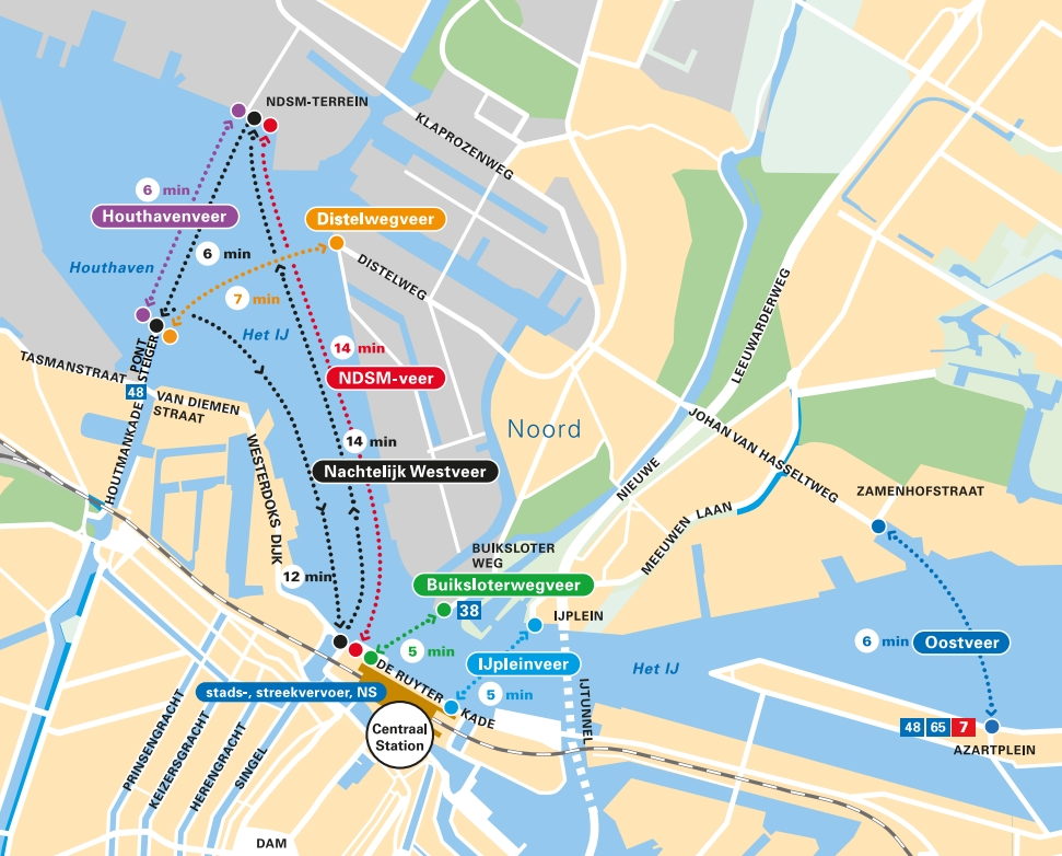 Amsterdam Free Ferry Map 2019