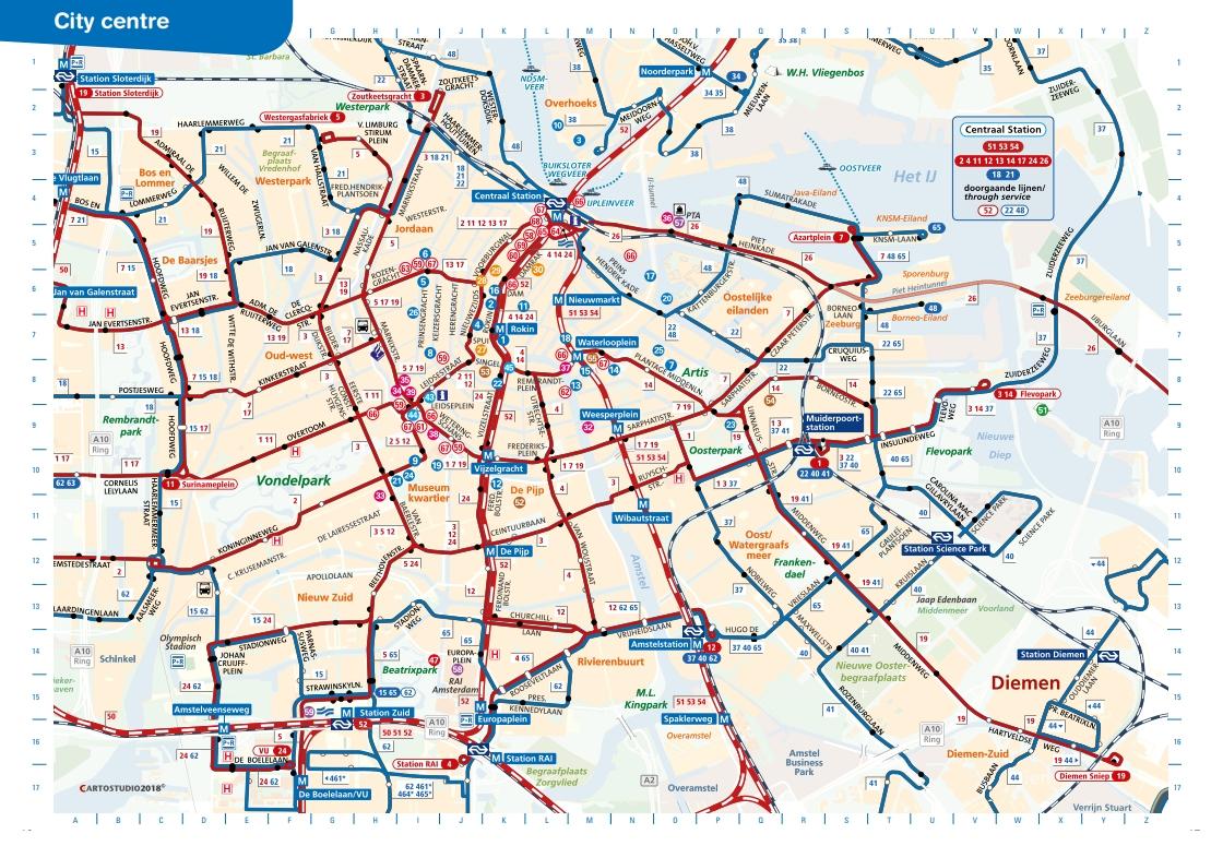 Amsterdam Transportation Map 2019